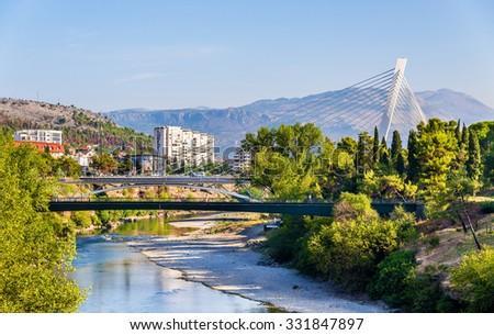 View of Podgorica with the Moraca river - Montenegro - stock photo