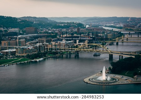 View of Point State Park and the Allegheny River in Pittsburgh, Pennsylvania. - stock photo