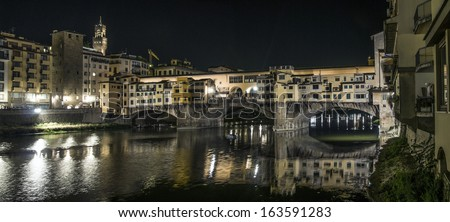 View of Ponte Vecchio by night, Firenze, Italy - stock photo