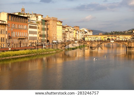 View of Ponte Vecchio over Arno River in Florence, Italy - stock photo