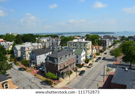 View of Portland Maine from the observatory on Munjoy Hill. - stock photo