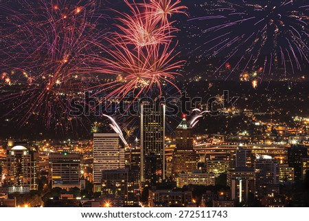 View of Portland Oregon, USA from Pittock Mansion during a Fireworks Show - stock photo