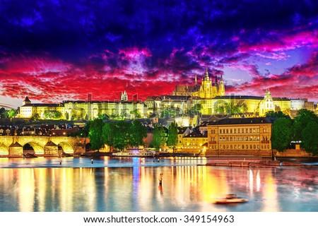 View of Prague Castle and Charles Bridge-famous historic bridge that crosses the Vltava river in Prague, Czech Republic.  - stock photo