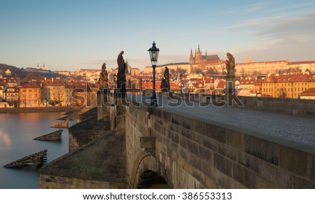 View of Prague castle and Charles Bridge, Prague, Czech republic, Europe - stock photo