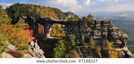 View of Pravcicka brana - the biggest natural gate in Europe. - stock photo