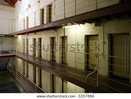 View of prison cell blocks. - stock photo