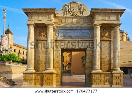 View of Puerta del Puente in Cordoba, Spain - stock photo