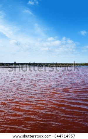 View of red water in a micro algae nursery of a large salina  - stock photo