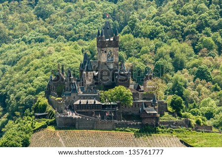 View of Reichsburg Castle in Cochem in Germany from Pinnerkreuz - stock photo