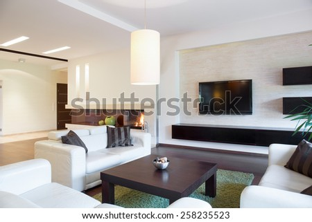 View of relaxation area inside modern apartment - stock photo