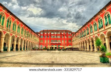 View of Republic Square in Split - Croatie - stock photo