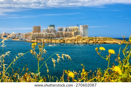 View of residential buildings in Sliema - Malta - stock photo