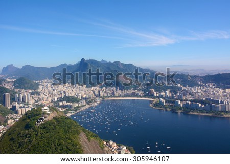 View of Rio de Janeiro, Brazil, on a beautiful sunny day. - stock photo