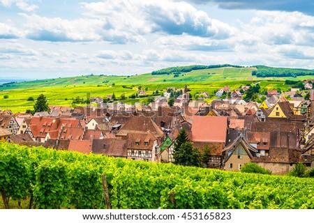 View of Riquewihr village, Alsace, France - stock photo