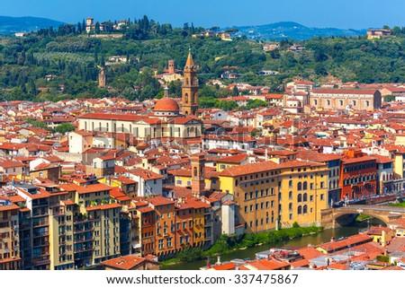 View of river Arno, Oltrarno, Giardino Torrigiani, bridge and church Santo Spirito at morning from Palazzo Vecchio in Florence, Tuscany, Italy - stock photo