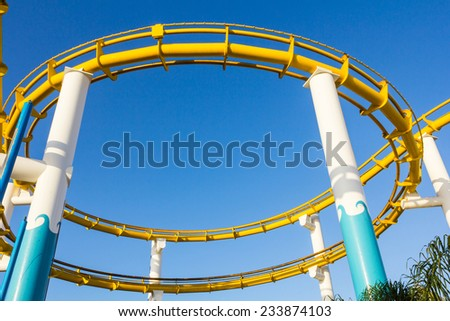View of roller coaster at Pacific Park at Santa Monica Pier, in Los Angeles, USA. - stock photo
