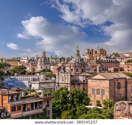 View of Rome from Roman Forum in Italy - stock photo