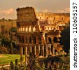 View of Rome, Italy - Coliseum. - stock photo