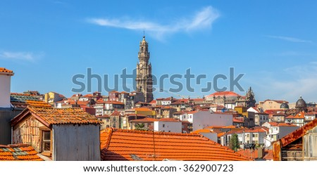 View of roofs of Porto and the Clerigos tower church. - stock photo