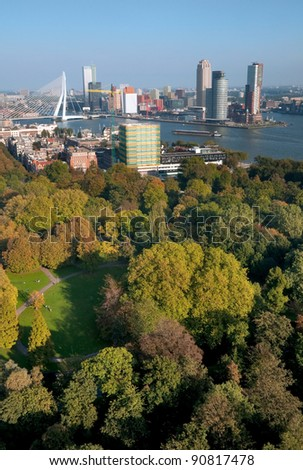 View of Rotterdam city  and park from Euromast tower - Netherlands - stock photo