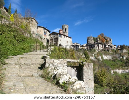 View of Rupit.Catalonia.Spain - stock photo