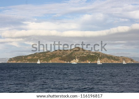view of sailboats on the bay from sausalito california - stock photo