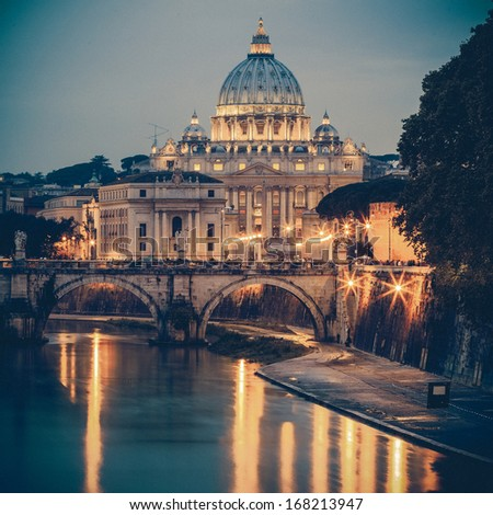 View of Saint Peter's Basilica,Vatican - stock photo