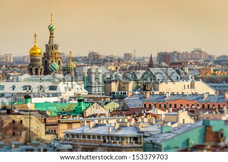 View of Saint Petersburg skyline and Church of the Savior on Blood domes from from Saint Isaac's Cathedral - stock photo