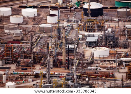 View of Salt Lake city oil refineries during day - stock photo