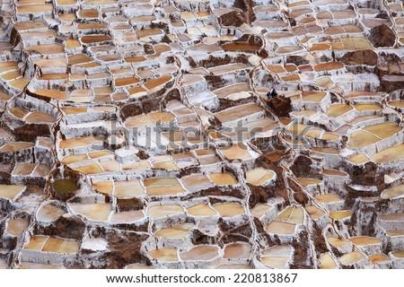 View of Salt ponds, Maras, Cuzco, Peru - stock photo