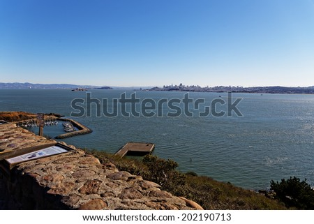 View of San Francisco bay area from Vista Point - stock photo