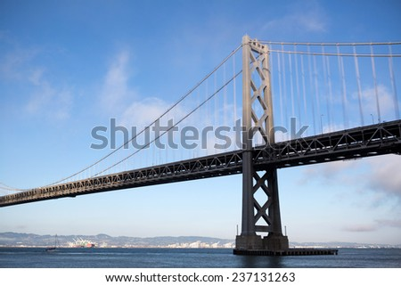 View of San Francisco with the Oakland Bay Bridge - stock photo