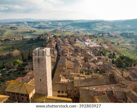 View of San Gimignano from a tower in Tuscany, Italy - stock photo