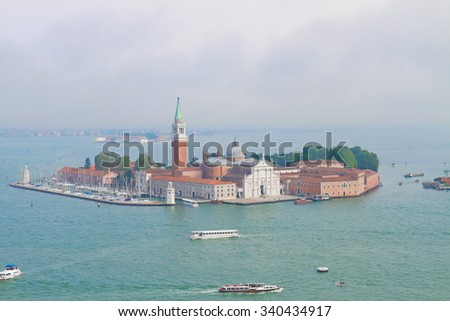 view of San Giorgio island and lagoonat misty morning, Venice, Italy - stock photo