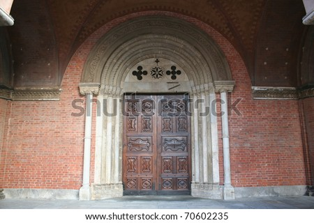 View Of San Lorenzo Cathedral Entrance (Alba , Piemonte Italy) - stock photo
