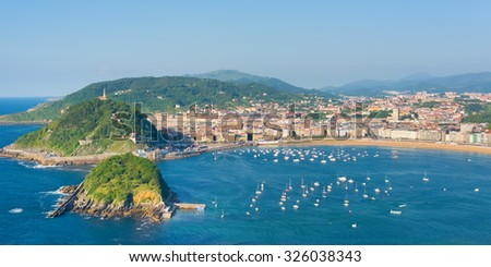View of San Sebastian in a summer evening - stock photo