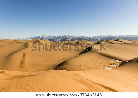 View of sand dunes in Shapotou National Park - Ningxia, China.  - stock photo