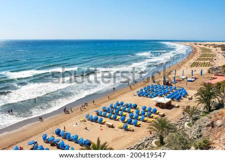 View of sandy beach Playa del Ingles. Maspalomas. Gran Canaria - stock photo