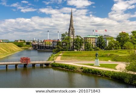 View of Sankt Albans Kirke in Copenhagen - stock photo