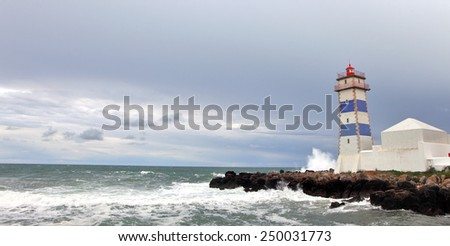 View of Santa Marta lighthouse and Municipal museum of Cascais, in Portugal - stock photo