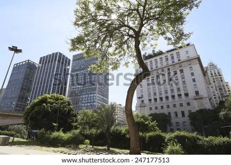 view of sao paulo downtown, brazil - stock photo
