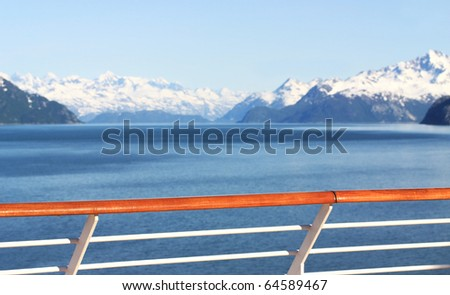 View of scenic alaska mountains from cruise ship - stock photo
