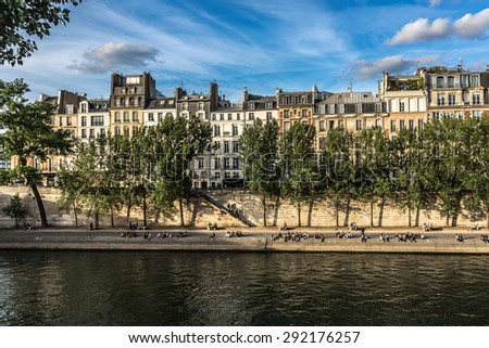 View of Seine River and famous Cite Island at Sunset. Paris, France, Europe. - stock photo
