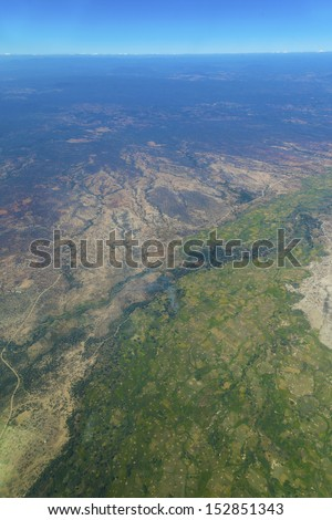 View Of Serengeti National Park From The Top - stock photo
