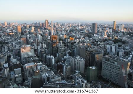 View of Shibuya skyline from Shibuya Hikarie , Tokyo Japan. - stock photo