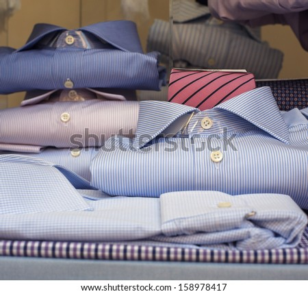 View of Shirts in the shop in Milan - stock photo