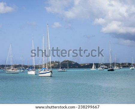 View of Simpson Bay and boats, St Martin, Caribbean - stock photo