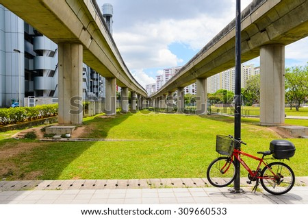 view of Singapore bicycle parking spot - stock photo