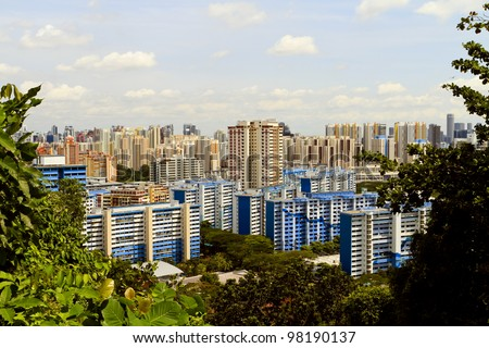View of Singapore from Mount Faber park - stock photo