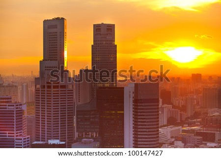 View of Singapore in the evening at sunset - stock photo